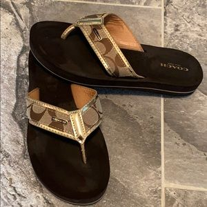 Gold&Brown Authentic Coach Sandals 💯 condition
